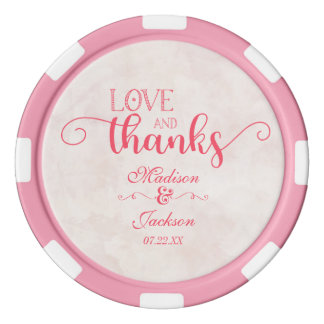 Pink & Blush Watercolor Floral Wedding Thank You Poker Chips