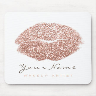 Pink Blush White Glitter Name Makeup Lips Kiss Mouse Mat