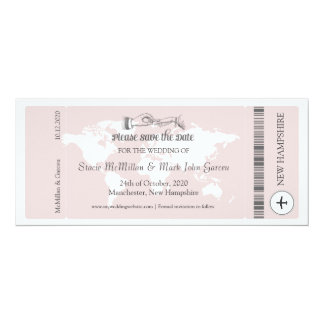 Pink Boarding Pass Save the Date Invitation