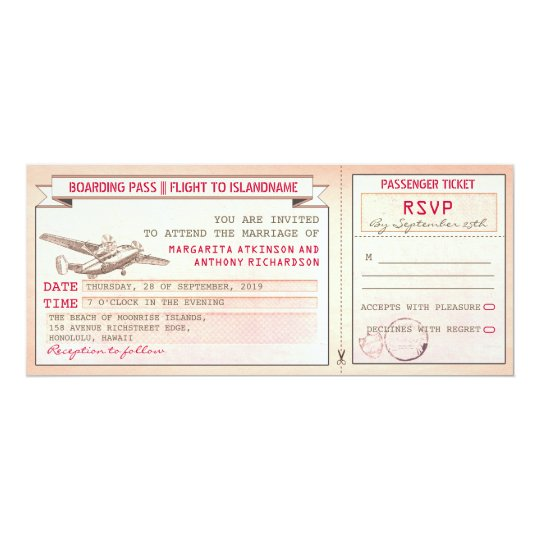 pink boarding pass ticket-vintage wedding invites