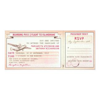 pink boarding pass ticket-vintage wedding invites