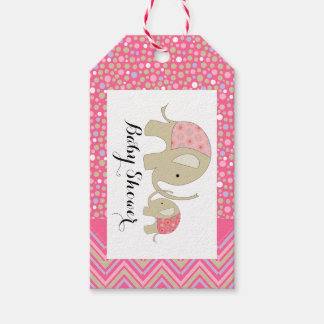 Pink Bohemian Elephant and Chevron Baby Shower Gift Tags