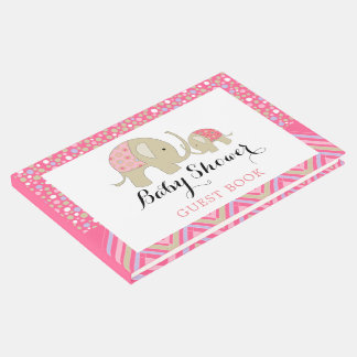 Pink Bohemian Elephant and Chevron Baby Shower Guest Book