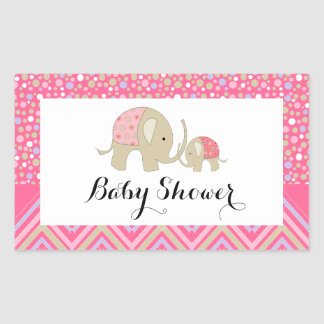 Pink Bohemian Elephant and Chevron Baby Shower Rectangular Sticker