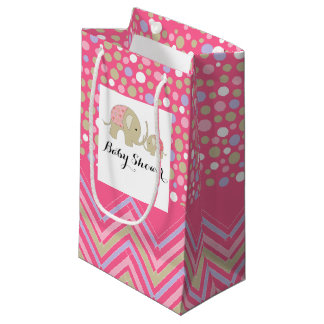 Pink Bohemian Elephant and Chevron Baby Shower Small Gift Bag