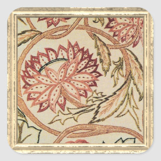 Pink Bohemian Flowers Square Sticker