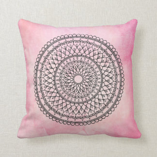 Pink Bohemian Watercolor Hand Drawn Mandala Flower Cushion