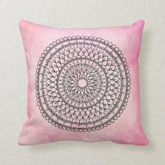Pink Bohemian Watercolor Hand Drawn Mandala Flower Throw Pillow