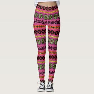 Pink Boho Aztec Tribal Pattern Leggings