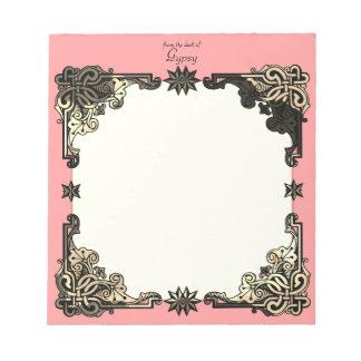 Pink Boho Floral Bohemian Celtic Knot Notepad