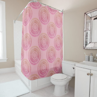Pink Boho Tribal Folk Nature Gypsy Circle Hippy Shower Curtain