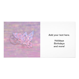 Pink Bokeh Butterfly Photo Cards