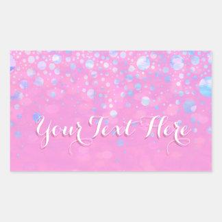 Pink Bokeh Glitter Stars Rectangular Sticker