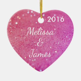 Pink Bokeh Heart Any Name Personalised Decoration Ceramic Heart Decoration