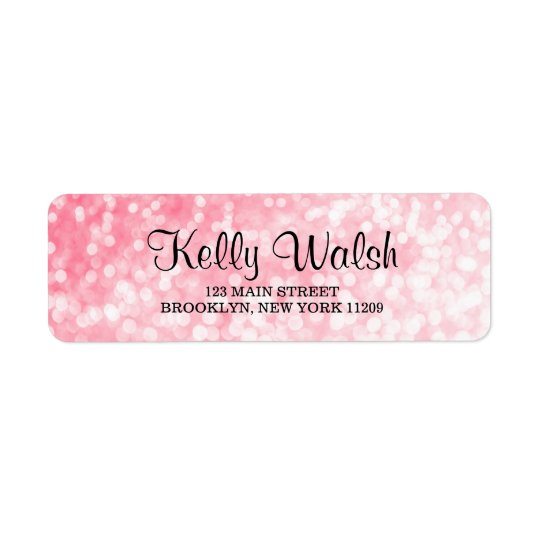 Pink Bokeh Lights Sweet 16 Return Address Labels