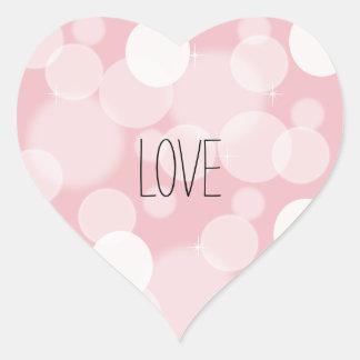 Pink Bokeh Love Heart Sticker