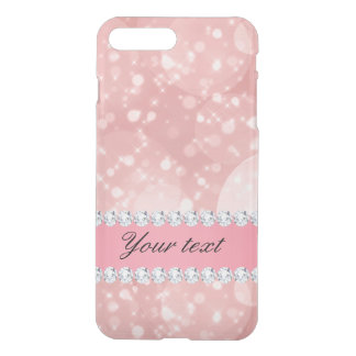 Pink Bokeh Sparkles and Diamonds Personalized iPhone 7 Plus Case