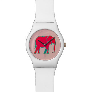 Pink Bold Cartoon Elephant Modern Girly Simple Watch