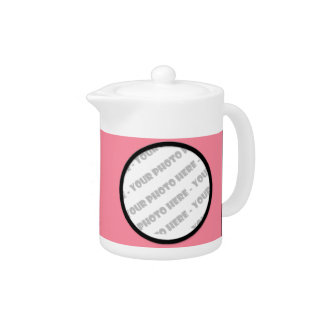 Pink Bold Personalized Photo Teapot