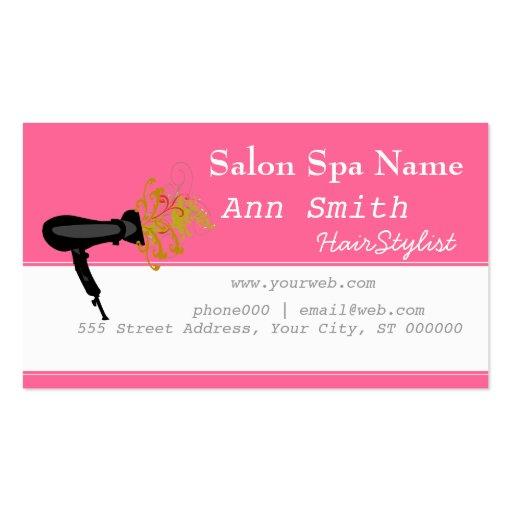 Pink Bold Vibrant  Hair Stylist Flower Swirls Business Card Templates