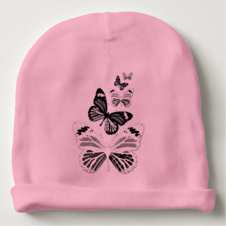 Pink bonnet of birth black and white butterflies baby beanie