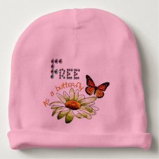 "Pink bonnet of birth ""Free ace has butterfly "" Baby Beanie"