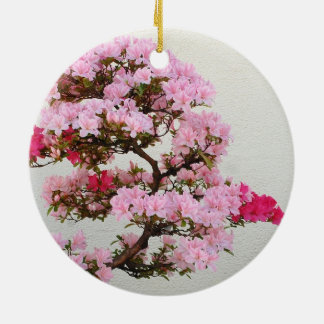 Pink Bonsai Tree Round Ceramic Decoration