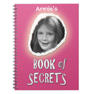 Pink Book of Secrets with Custom Photo and Name Spiral Note Book