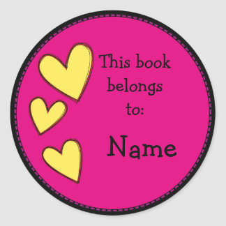 Pink bookplate with hearts classic round sticker