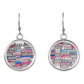 Pink Books Earrings