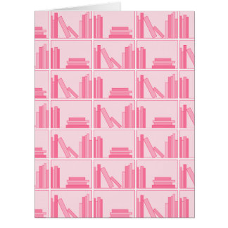 Pink Books on Shelf. Big Greeting Card