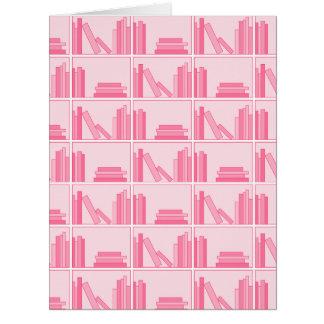 Pink Books on Shelf. Big Greeting Card