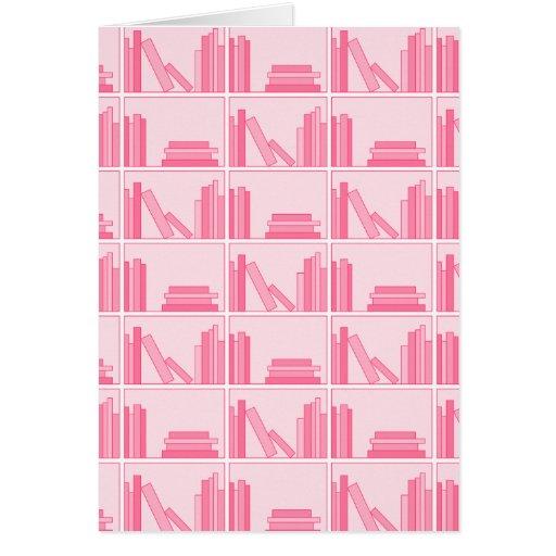 Pink Books on Shelf. Card