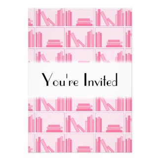 Pink Books on Shelf Invites