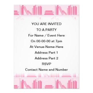 Pink Books on Shelf Custom Invites