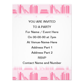 Pink Books on Shelf Custom Invites