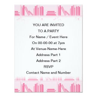 "Pink Books on Shelf. 4.25"" X 5.5"" Invitation Card"