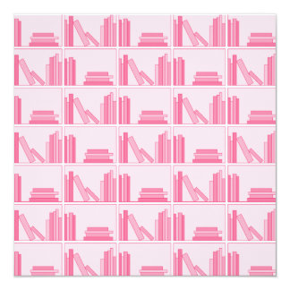 Pink Books on Shelf. Announcement