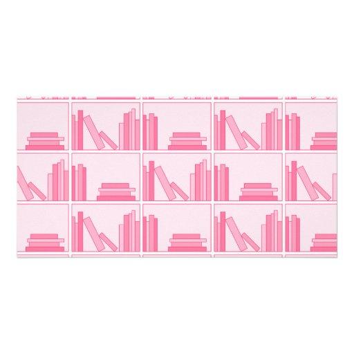Pink Books on Shelf. Custom Photo Card