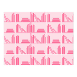 Pink Books on Shelf Postcards