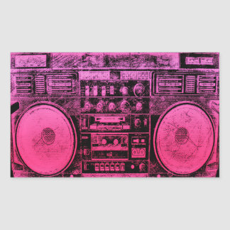 pink boombox rectangular sticker