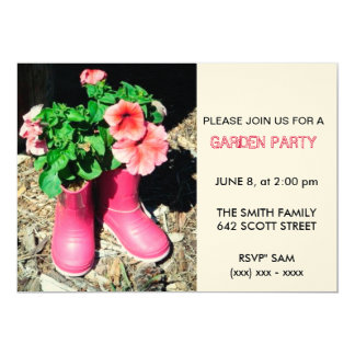 Pink Boot Garden Party Invitation
