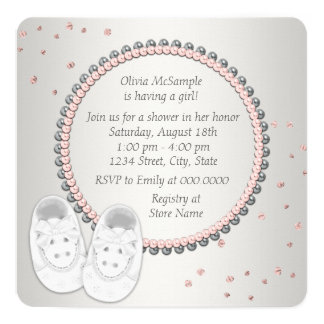 Pink Booties Baby Shower 13 Cm X 13 Cm Square Invitation Card