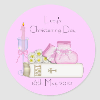 Pink Booties & Bible - Christening Sticker