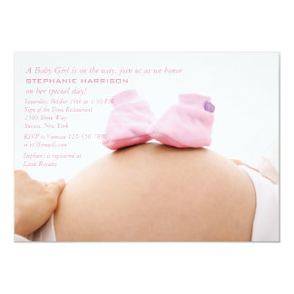 Pink Booties on the Belly Baby Shower Invitation