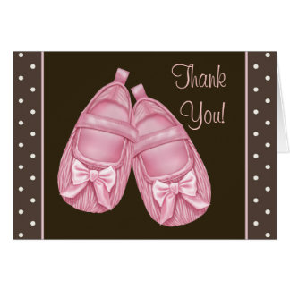 Pink Booties Pink and Brown Baby Girl Thank You Note Card