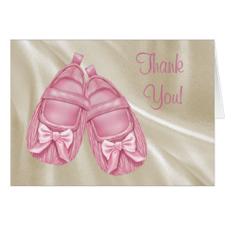 Pink Booties Thank You Cards Note Card