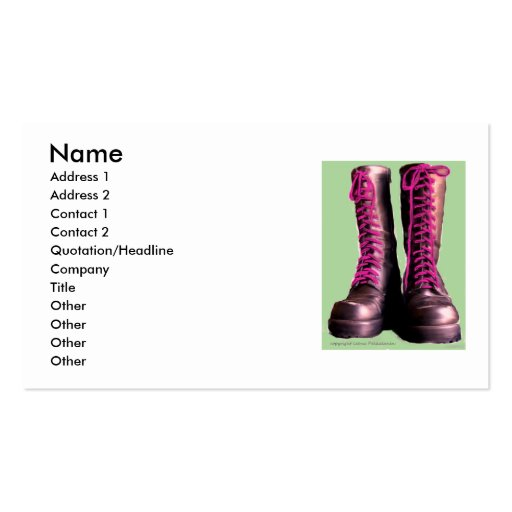 Pink Boots Business Card Template