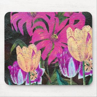 Pink Botanical Tulips Oil Brush Painting Mouse Pad