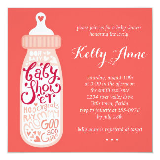 Pink Bottle Baby Shower 13 Cm X 13 Cm Square Invitation Card